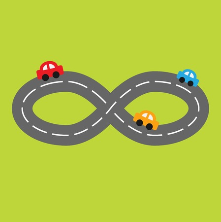 Background with road infinity sign and three cartoon cars. Vector illustration Vector