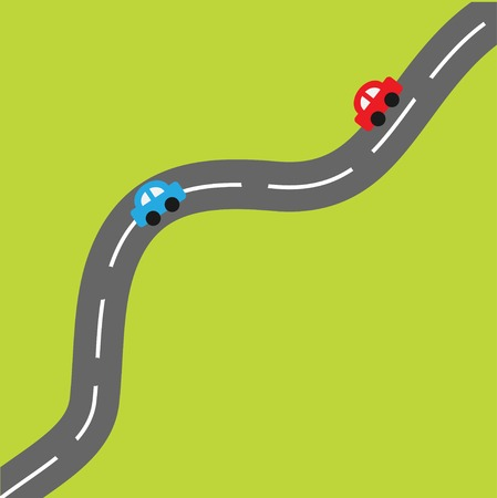 Green background with road and cartoon cars. Vector illustration Stock Illustratie