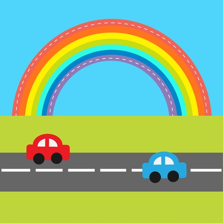 rent a car: Background with rainbow, road and cartoon cars. Vector illustration