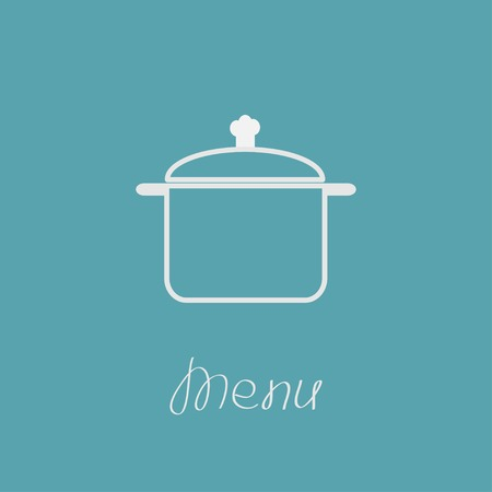 Menu cover with contour saucepan. Flat design style. Vector illustration. Vector