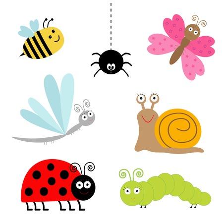 귀여운 만화 곤충을 설정합니다. 무당 벌레, 잠자리, 나비, 애벌레, 거미, 달팽이입니다. 고립. 벡터 일러스트 레이 션