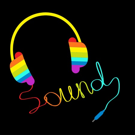 sound card: Rainbow headphones with cord in shape of word sound. Music card. Vector illustration