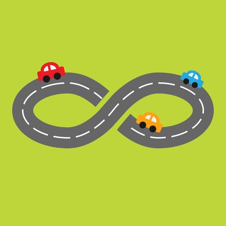 Background with road infinity sign and cartoon cars. Vector illustration Vector