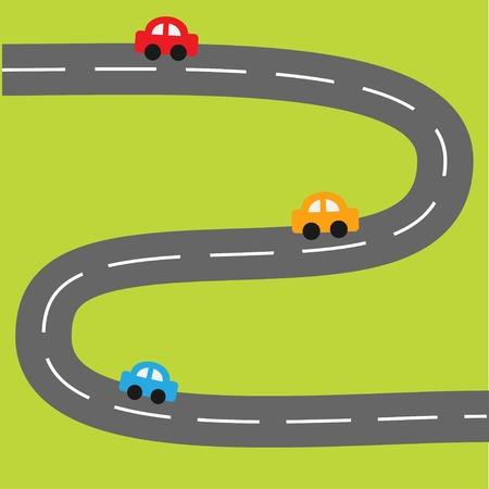 ジグザグ道と漫画車の背景。ベクトル イラスト