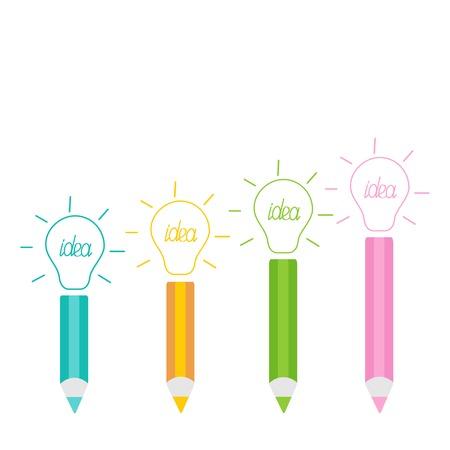 Set of pencils and shining light bulbs Business idea concept. Vector illustration Vector