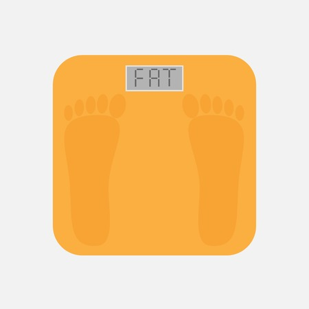Bathroom floor electronic weight scale with word fat. Flat design style. Vector illustration. Vector
