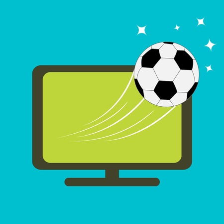 Football soccer ball flying from TV set. Flat design style. Vector illustration Vector