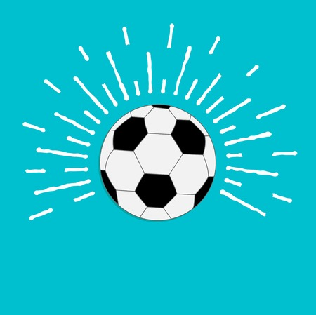 ray of light: Football soccer ball with ray of light sunlight effect. Flat design style. Vector illustration