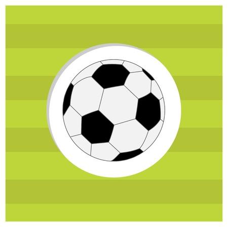 speelveld gras: Voetbal voetbal pictogram op groene gras veld achtergrond. Platte design stijl. Vector illustratie