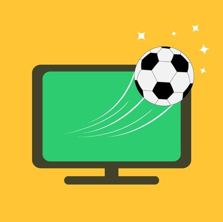 Football soccer ball flying from TV set. Orange background. Flat design style. Vector illustration Vector