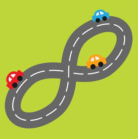 Background with road in shape of infinity sign and cartoon cars. Vector illustration Vector