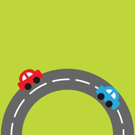 Background with round on the bottom road and cartoon cars. Vector illustration Vector