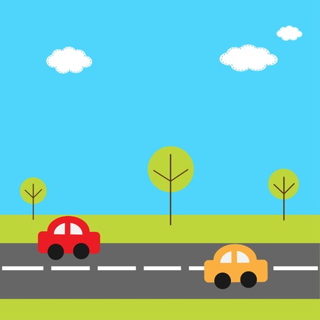 Background with grass trees road and cartoon cars. Vector illustration