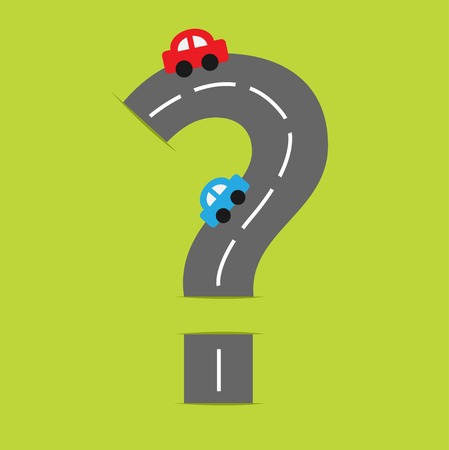 Background with road in shape of big question mark and cartoon cars. Vector illustration