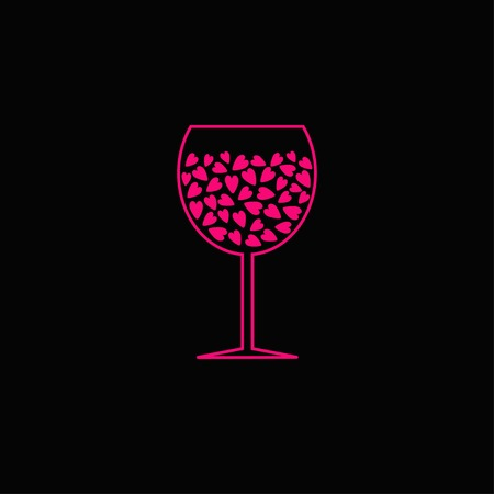 Wine glass with pink hearts inside. Black background. Vector illustration Vector