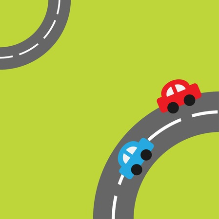 Grass with two roads in the corners and cartoon cars Vector
