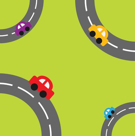 Background with roads in the corners and cartoon cars Vector