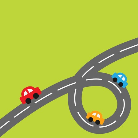Background with big loop road and cartoon cars Vector