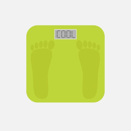 bathroom weight scale: Bathroom floor electronic weight scale with word cool. Illustration