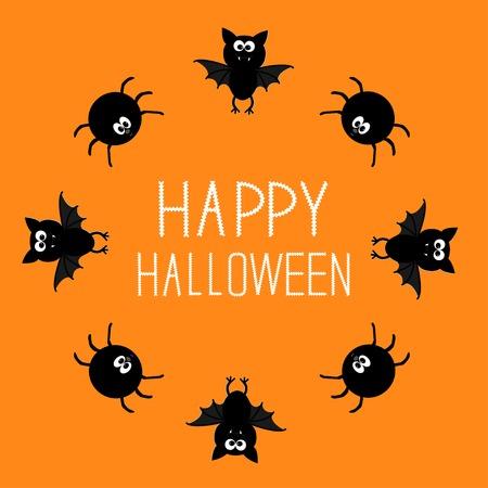 Cute bat and spider round frame  Happy Halloween card  Orange background  Vector illustration