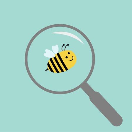 stick bug: Bee under magnifier zoom lense  Flat design  Vector illustration