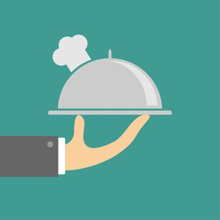 Hand holding silver platter cloche with chefs hat  Flat design  Vector illustration