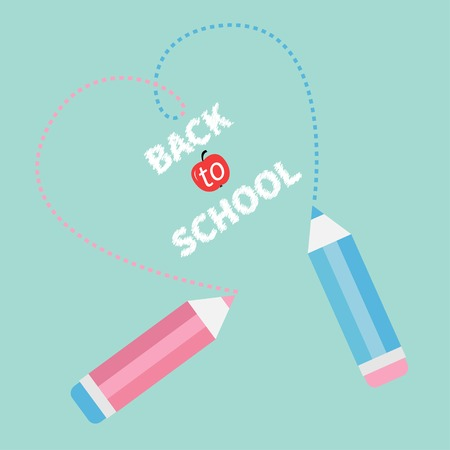 Two pencils drawing dash heart  Blue background  Back to school card  Flat design  Vector illustration Vector