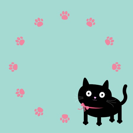 unusual valentine: Cat and paw print round frame template  Flat design  Vector illustration