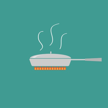Pan with steam on fire  Coocing icon  Flat design style  Vector illustration