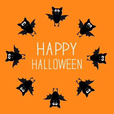 Cute bat round frame. Happy Halloween card. Orange background. Vector illustration