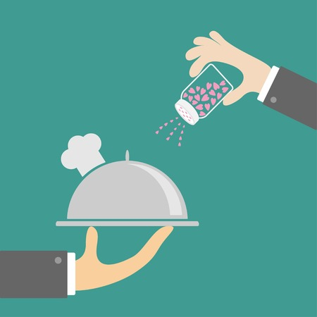 Two hands with silver platter cloche chef hat and salt shacker. Flat design. Vector illustration Vector
