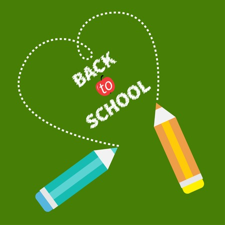 Back to school card card. Two pencils and dash heart on green board. Flat design. Vector illustration Vector