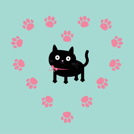 Cat inside paw print heart frame. Flat design. Vector illustration Vector
