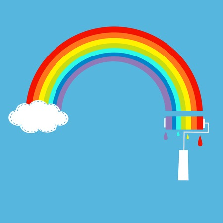 Rainbow cloud in the sky and paint roller with drops. Dash line. Vector illustration Vector