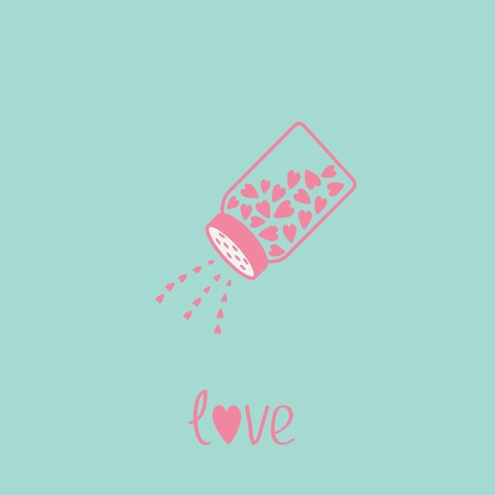 salt shaker: Salt shaker with hearts inside. Happy Valentines day love card. Blue and pink. Vector illustration