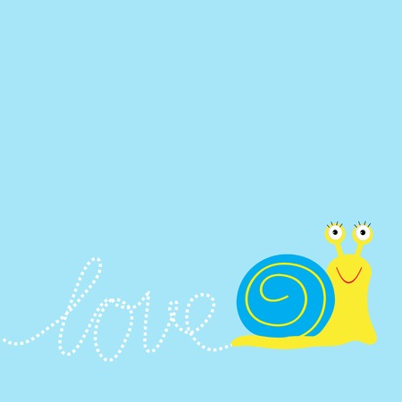 Snail  insect. Dash word Love. Card Flat design. Vector illustration Vector