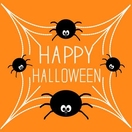 spook: Four cartoon spider on the web. Halloween card. Orange background. Vector illustration