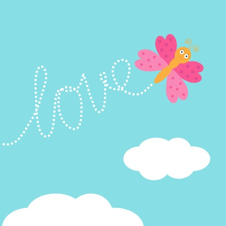 Flying butterfly insect. Dash word Love in the sky. Card Flat design. Vector illustration Vector