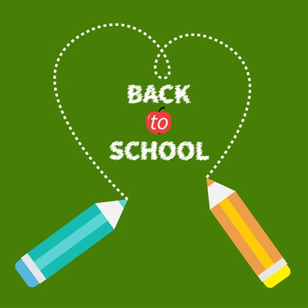 Two pencils drawing dash heart on green. Back to school card card. Flat design. Vector illustration Vector