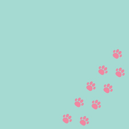 Paw print track in the corner. Blue and pink. Vector illustration Vector