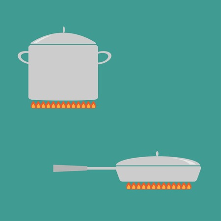 Pan and saucepan set on fire. Coocing icon. Flat design style. Vector illustration