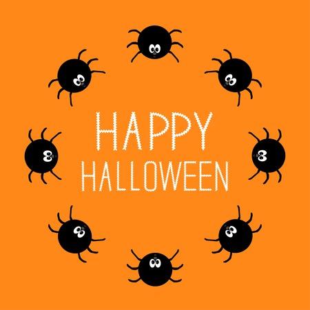 spook: Cute cartoon spider round frame. Halloween card. Orange background. Vector illustration Illustration