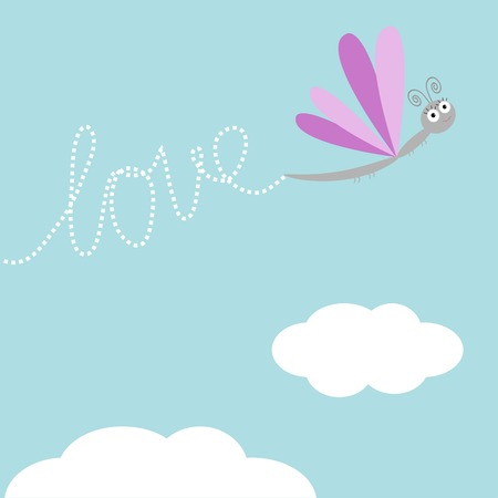 stick bug: Flying dragonfly insect. Dash word Love in the sky. Card Flat design. Vector illustration Illustration