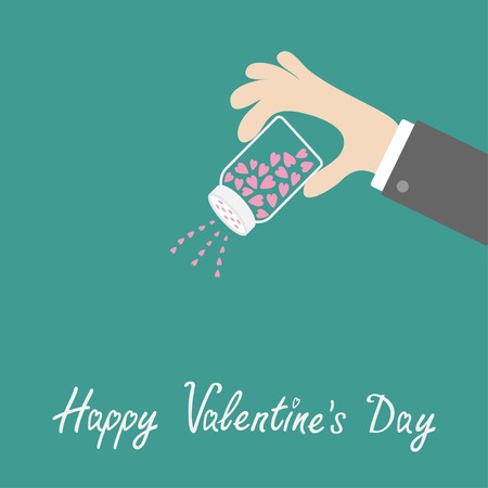 strew: Hand and salt shaker with hearts inside. Happy Valentines day love card. Flat design. Vector illustration Illustration