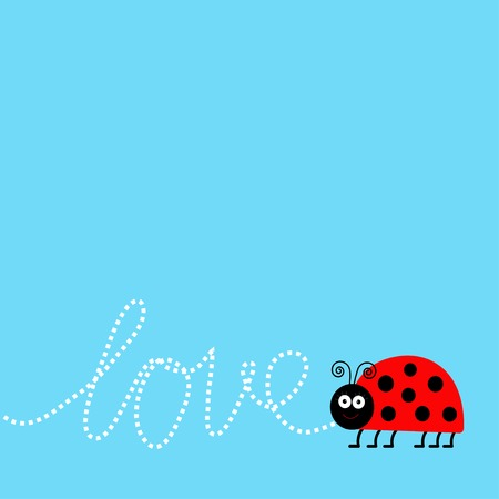 Ladybug ladybird insect. Dash word Love. Card Flat design. Vector illustration Vector