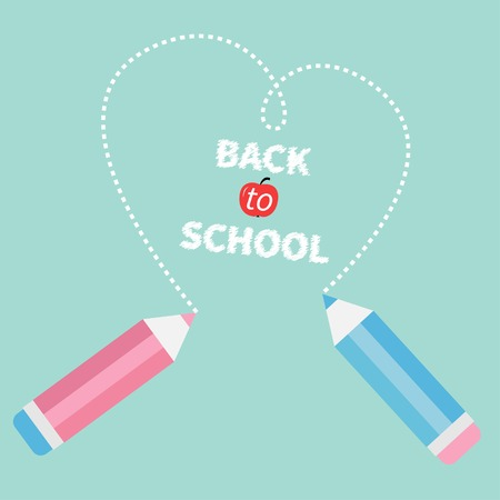 Two pencils drawing dash hearton blue background. Back to school card. Flat design. Vector illustration Vector