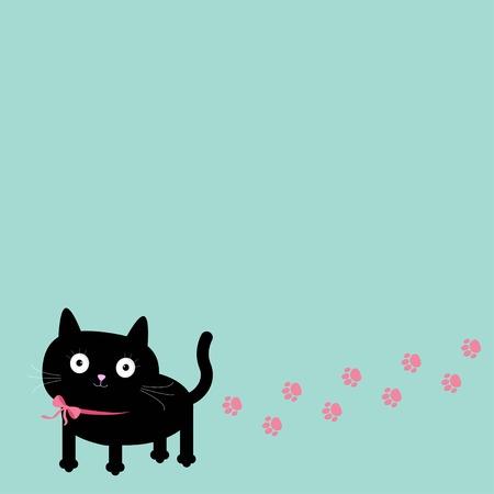 Cartoon kat en pootafdruk track in de hoek. Frame sjabloon. Vector illustratie