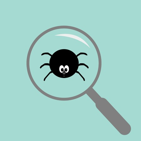 Spider insect under magnifier zoom lense. Flat design. Vector illustration Vector