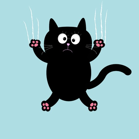 Cartoon black cat claw scratch glass background. Vector illustration Vector