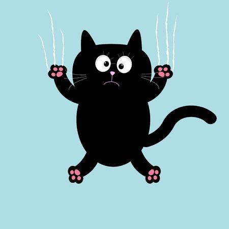 cat's eye glasses: Cartoon black cat claw scratch glass background. Vector illustration Illustration